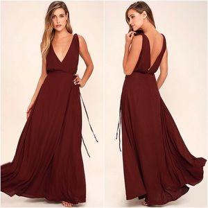 Lulu's Strictly Ballroom burgundy maxi dress XS
